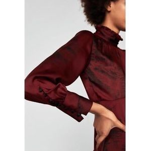 Zara Satin Midi Dress in Burgundy and Black Floral